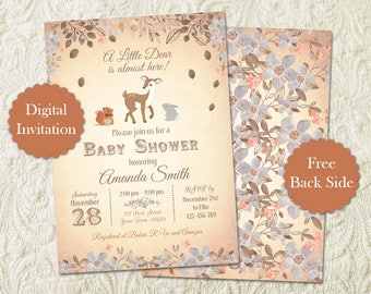Oh Deer Baby Shower Invitation, Rustic Woodland Gender Neutral Baby Shower Invitation, Little Deer Buck Forest Baby Shower Invitation