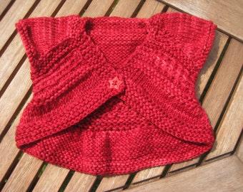 Baby cardigan / jacket / bolero. Hand Knitted in 100% Superwash Merino Wool