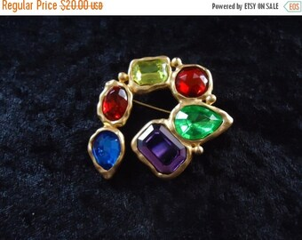 Now On Sale Vintage Multi Color Brooch Pin Retro Collectible Costume Jewelry