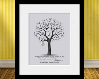 Keepsake Thumbprint Tree, Thumbprint Tree Guestbook, Jeremiah 29:11, Baby Special Occasion Guestbook, Baby Gift, Baby Guestbook Alternative