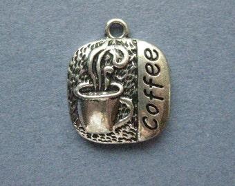4 Coffee Charms - Coffee Pendants - Drink Charms - Drinks - Coffee - 20mm x 17mm -- (C3-12068)