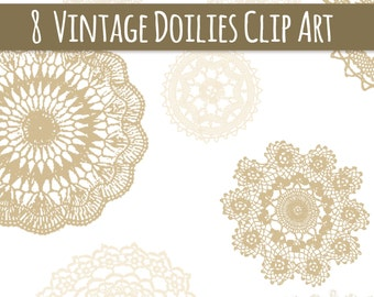CLIP ART: Vintage Sepia Doilies // Beautiful Vintage Lace Doilies // Photoshop Brush Stamp // Vector EPS //Cream Tan Beige // Commercial Use