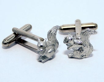 Small Squirrel Cufflinks, Handmade in English Pewter, Gift Boxed (R)