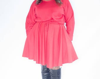 Trendy Plus Size Sweatshirt Dress / Women plus size / Sweatshirt Fleece