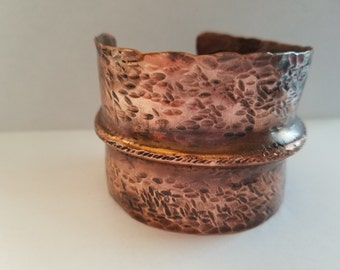 Hand-folded & hammered copper cuff
