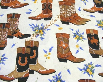 Greetings From Texas Fabric~by the yd~Robert Kaufman~Cowboy Boots~Western~Horseshoes~TAN