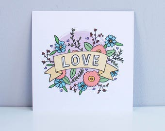 LOVE – cute and pretty wall art, square A5, Illustrated art print