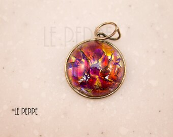 Glass pendant necklace special red / orange