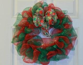 Christmas Deco Mesh Wreath, Red Deco Mesh Wreath, Green Deco Mesh Wreath, Holiday Deco Mesh Wreath, Christmas Wreath, Winter Wreath