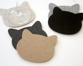 Cat Lover Gift Cat Drink Coasters for Pet Lovers 5mm Wool Felt Crazy Cat Lady Gifts Fun Cute Drinks Coaster Set Eco-Friendly Housewarming