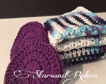 Eco Friendly 100 Percent Cotton Washcloth and Face Scrubbies Crochet Handmade Bridal Wedding Purple/Multi