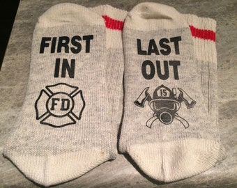 First In ... Last Out (Socks) with Firefighter Logo and Breathing Apparatus design