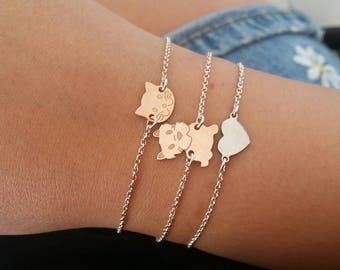 Custom bracelet in 925 sterling silver with chain and connector kitten or puppy pink gold