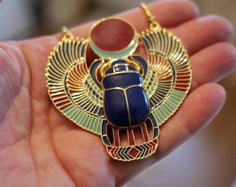 Retro Bronze Scarab Beetle Pendant Egyptian Necklace Jewellery   Kephra   Keph Ra   Kephra Pendant   Kephra Scarab