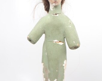 Early 1900 Santos with Human Hair and Glass Eyes, Antique Hand Painted