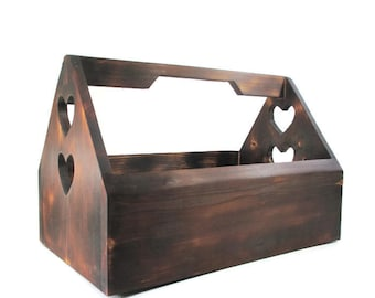 Wood Tote Box - Country Home Decor - Wooden Heart - Large Wood Totes