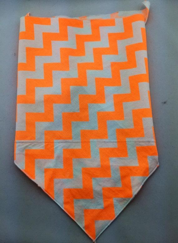 Neon Orange and White Chevron print Bandana w/ Secret Pocket on White Cotton