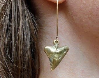 14K Gold Filled-Brass-Shark Tooth-Dangle-Earrings / Free US Shipping