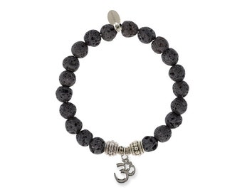 Black Lava Om Sign Bracelet