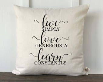 Farmhouse Live Love Lean Pillow Cover, Pillow Cover, Housewarming Gift, Wedding gift, Decorative Couch Pillow, Anniversary, Bedroom Pillow