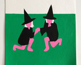 """Acrylic painting, """"Witches, Hardstyle"""", 6 x 6 inches on watercolor paper"""
