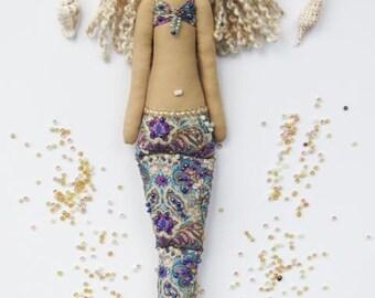 Mermaid doll fabric doll purple softie plush cloth doll art doll cute rag doll blonde Mermaid - gift for girl and mom