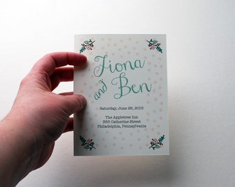 """Customizable Polka Dot Wedding Ceremony Program Booklet, 5.5x8.5"""", in Mint Green, Coral, Blush, Brown and Pink - Purchase for a Sample"""