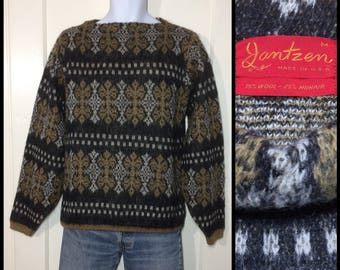 1960's fuzzy mohair wool boat neck pullover ski sweater size medium abstract striped snowflake patterned yellow ochre black white mod punk