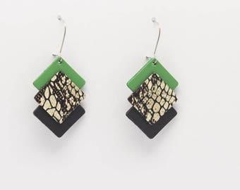 Earrings THRIO leather / light and original / handmade