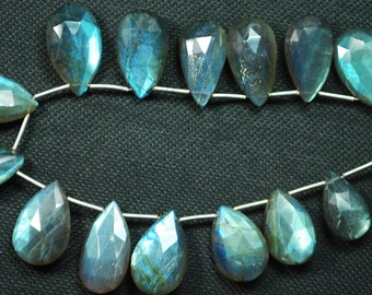 8 Inches, Super Finest Blue Flash Labradorite  Faceted Pear Shape Briolettes Size 16-14mm aprx