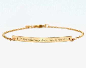 Graduation gift bracelet, Engraved Bracelet, Mother's day gift, Custom Name Gold Bar Bracelet Nameplate, Graduation gift bracelet.