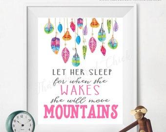 Let Her Sleep Printable / Digital File / Baby Girl / Nursery