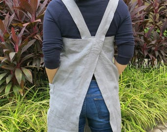 SALE! Linen Pinafore Apron - Mediumweight 100% Flax Linen, Japanese Apron, Crossback Apron, Linen Pinafore Apron, No tie apron