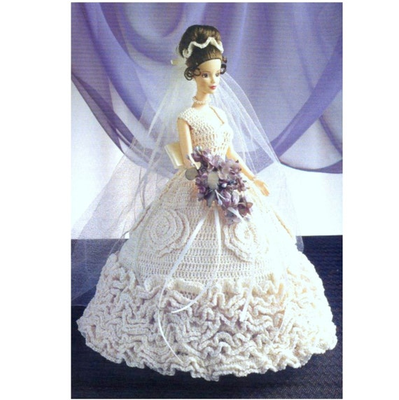 Vintage Crochet Pattern PDF Fashion Doll Ruffled Wedding Dress ...