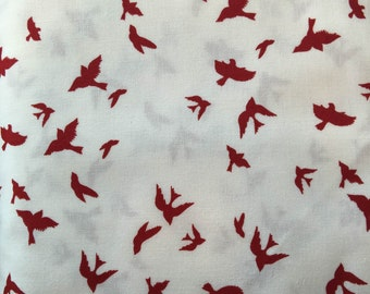 Fabric by the Yard-Flight in White-Christmas at Brambleberry Ridge by Violet Craft for Micheal Miller