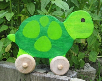 Wooden Turtle Push Toy Waldorf Heirloom Toddler Gift