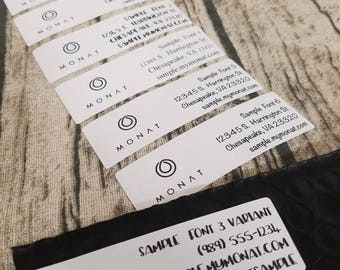 PRINTED - Mailed to you- Customized-  MONAT shipping/ return labels for mail /packaging / samples
