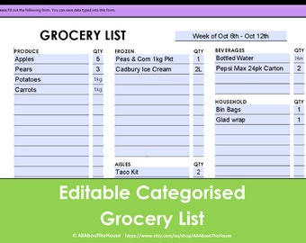 Printable Grocery List - Editable - Categorised - Shopping List - PDF - A4 - A5 - Instant Download