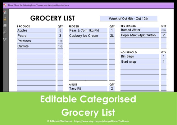 printable grocery list by aisle