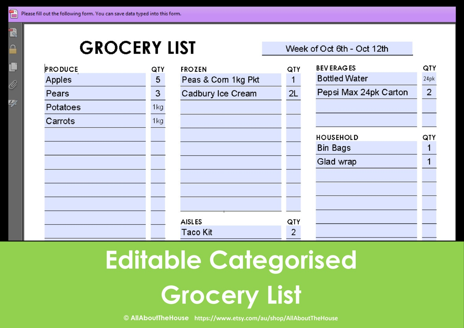 Printable Grocery List Editable Categorised Shopping