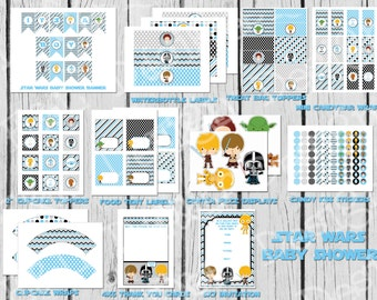 Star Wars Baby Boy Shower Party Pack, Star Wars Baby Shower, Instant Download, Printable