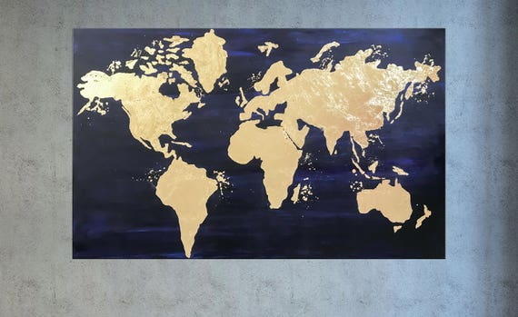 Gold leaf painting world map canvas navy blue gold world gumiabroncs Gallery