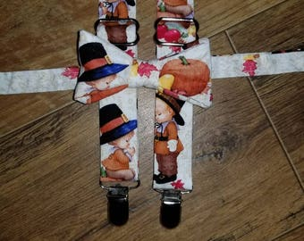 Thanksgiving outfit/ suspender set/ bow tie boys/toddler/infant tie/praying pilgrim/pumpkin /perfect for Thanksgiving dinner, family picture