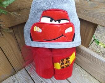 Lightning McQueen Inspired Hooded Towel