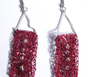 Red crocheted metal earrings