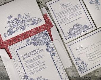 Le Jardin Letterpress Wedding Invitation Suite (SAMPLE)