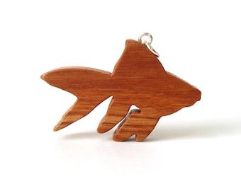 Goldfish Necklace Tropical Fish Pendant Goldfish Jewelry Wood Fish Pendant Necklace Cherry