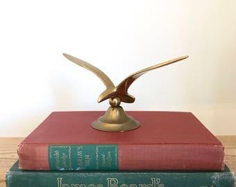 Vintage Brass Seagull Sculpture