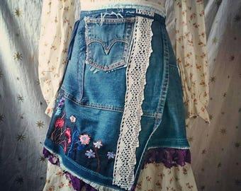 Denim Wrap Skirt size small,upcycled clothing, whimsical, boho, hippie, reclaimed,funky,blue,flowers, festival, reconstructed, designer