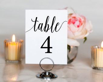 Simple, Elegant Script Wedding Table Number, 4x6, 5x7, Tented, Folded
